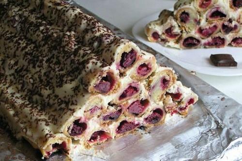 Торт с вишней и сметаной рецепт горка