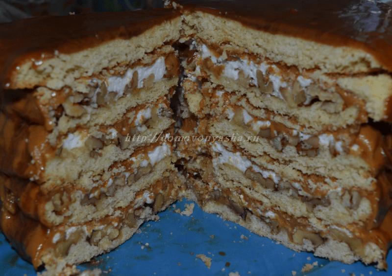 Торт с грецкими орехами рецепт с фото пошагово