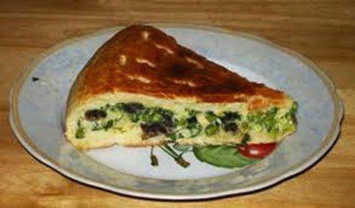Пирог с грибами и зеленым фотолуком