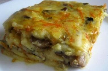 Картофельная запеканка с ветчиной и сметаной