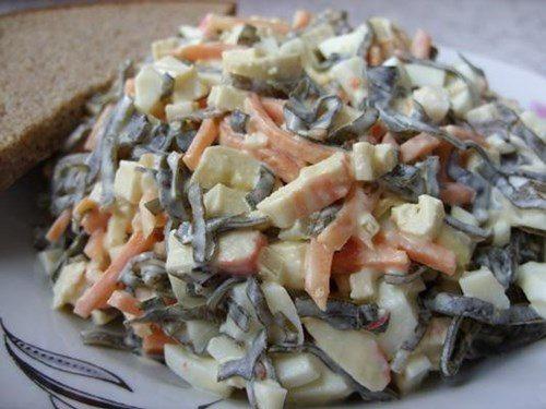 морская капуста яйца крабовые палочки салат рецепт