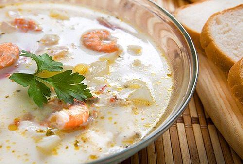 Сырный суп с креветками фото