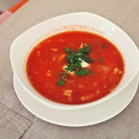 Томатный суп с макаронами фото