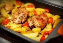 Картофель с курицей на ужин в микроволновке