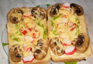 Пицца на хлебе в микроволновке