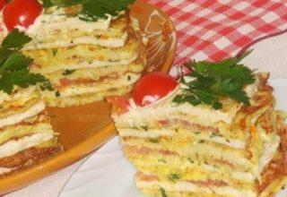 Кабачково-куриный тортик