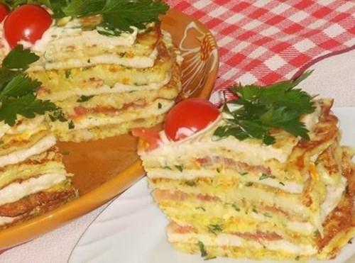 Кабачково-куриный тортик фото