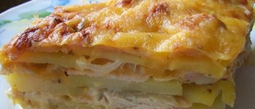 Картофельная запеканка с курицей фото