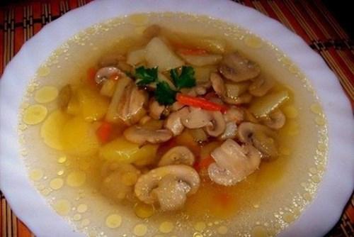 Суп грибной из шампиньонов фото