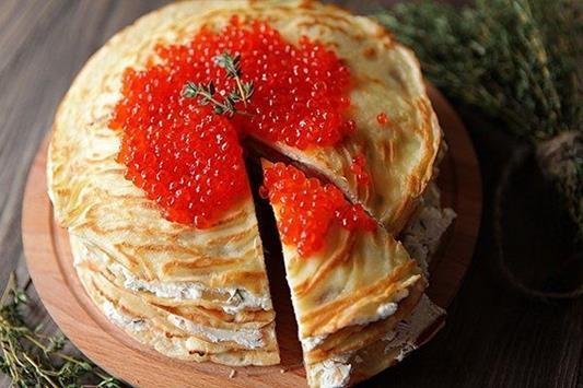 Блинный торт с «Лососем и сыром» фото