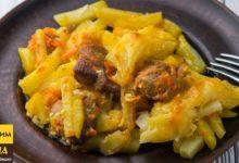 Безумно вкусная картошка с мясом в духовке