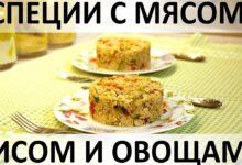 Специи с мясом, рисом и овощами